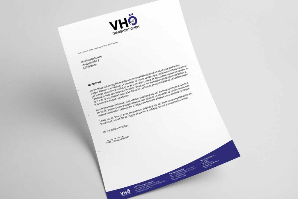 Fertiges Briefpapier Für Ein Logistik Und Transportunternehmen