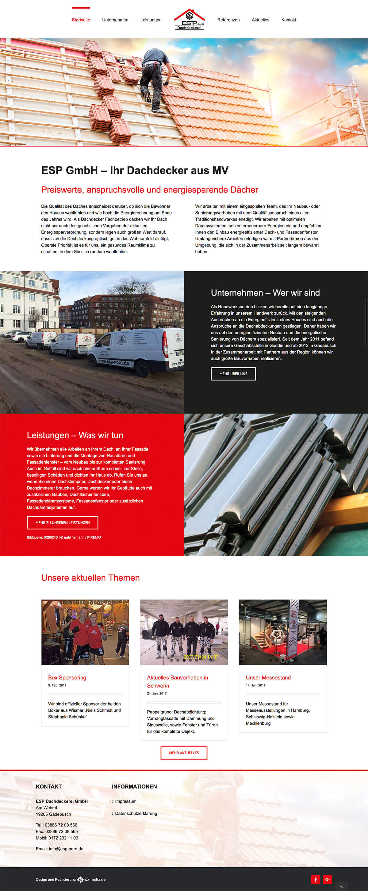 Dachdeckerei Homepage Design