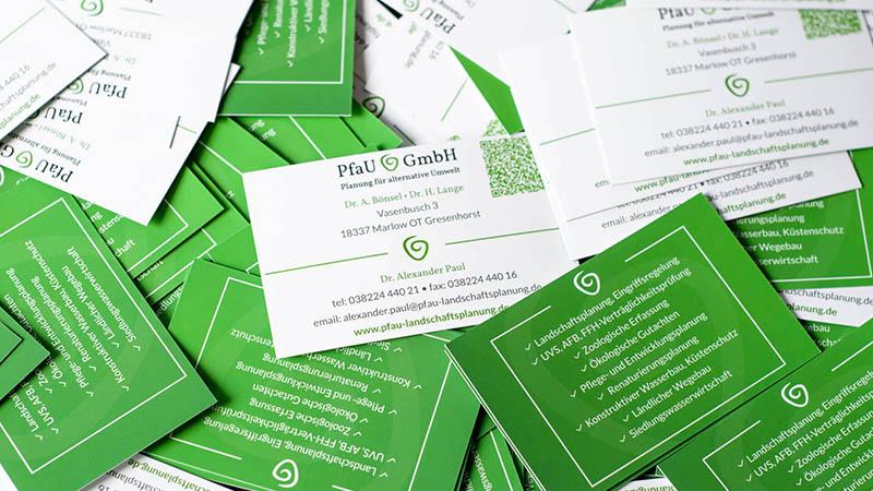 Visitenkarten Für Die PfaU Landschaftsplanung GmbH