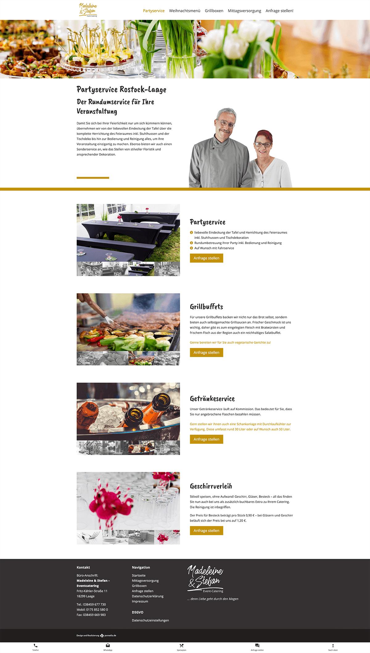 Party service webdesign