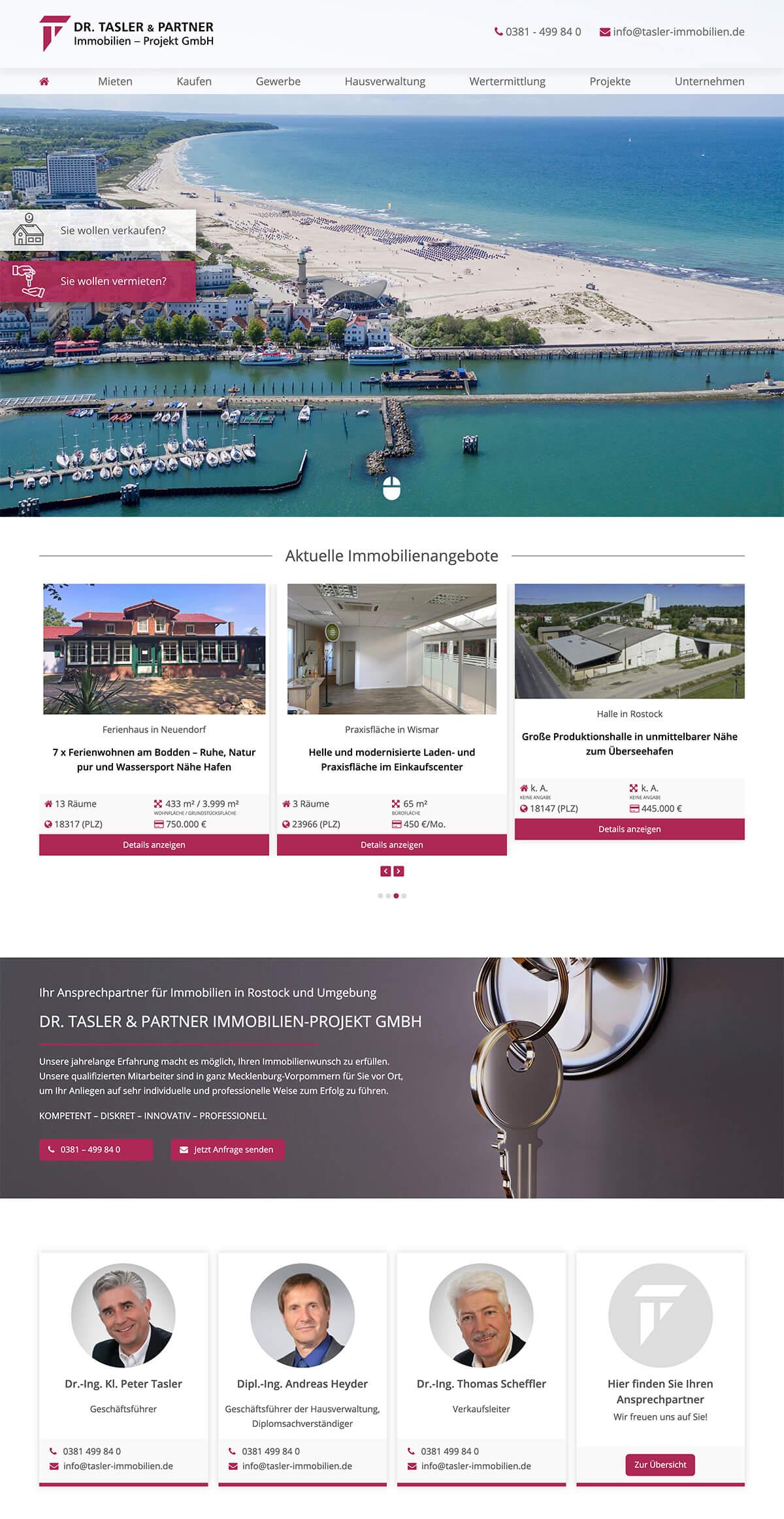 Website Homepage Rostock Immobilien
