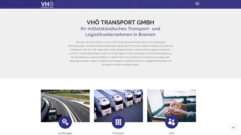Webdesign: VHÖ Transport GmbH