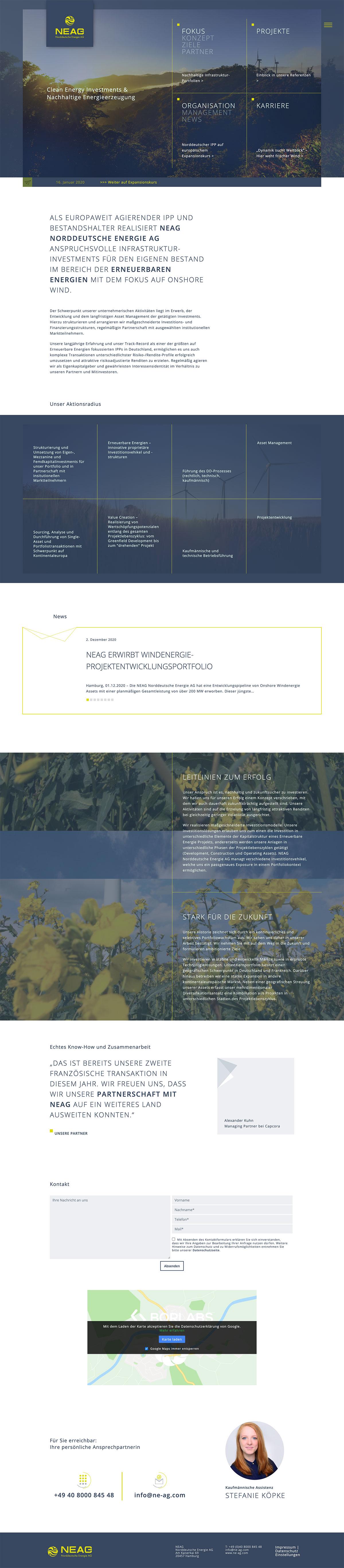 Bildschirmaufnahme NEAG Webdesign Rostock